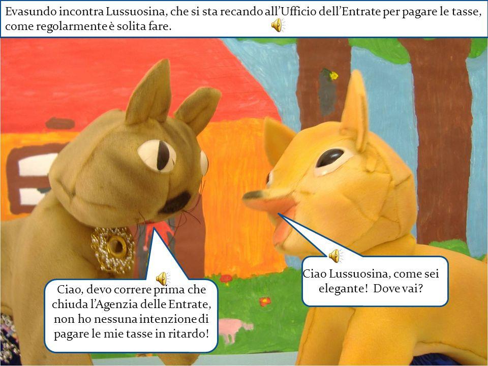 Evasundo incontra Lussuosina, che si sta recando allUfficio dellEntrate per pagare le tasse, come regolarmente è solita fare. Ciao Lussuosina, come se