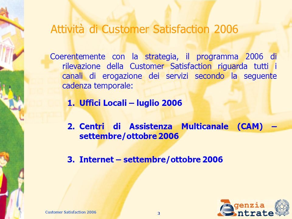 24 Customer Satisfaction 2006 CAM: struttura del questionario (3/3) Sezione 4 Motivo di preferenza del CAM rispetto allufficio (comodità, risparmio di tempo, …).