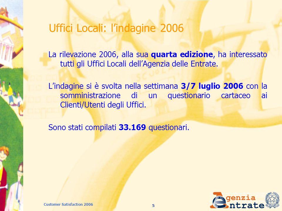 56 Customer Satisfaction 2006 Fisco on line: giudizio complessivo - totale e per categoria professionale (2005 - 2006)