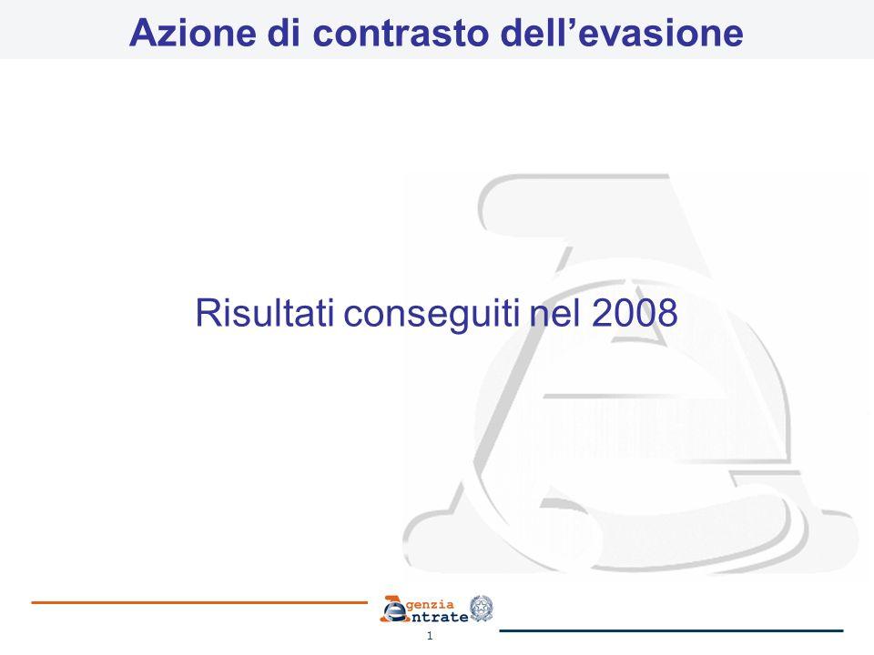 1 Azione di contrasto dellevasione Risultati conseguiti nel 2008