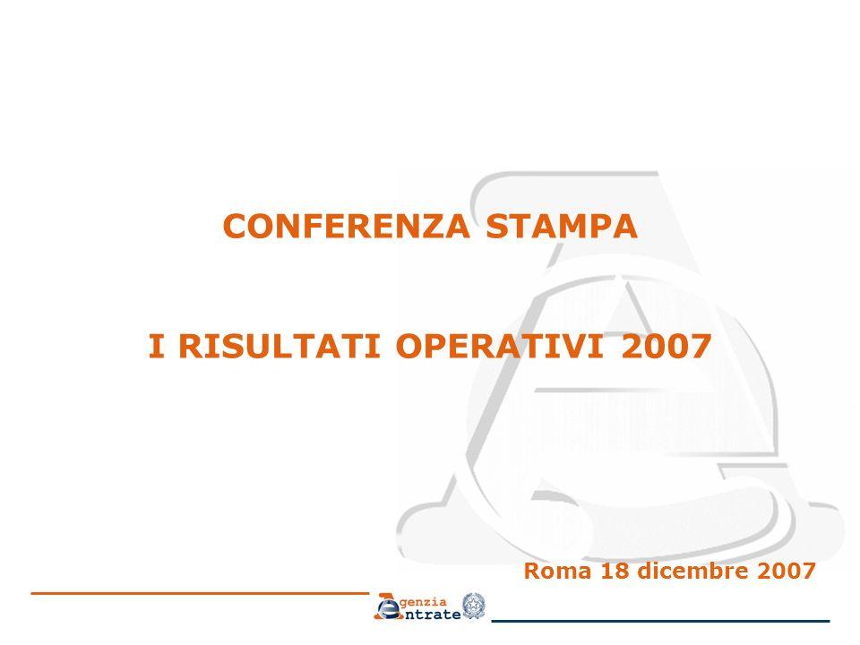CONFERENZA STAMPA I RISULTATI OPERATIVI 2007 Roma 18 dicembre 2007