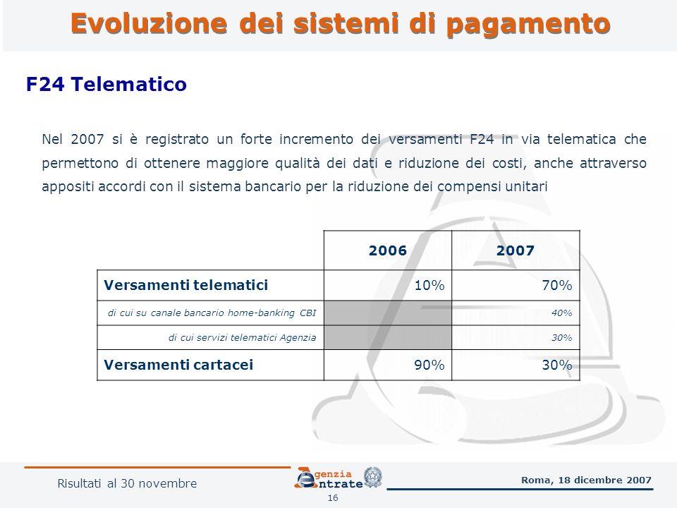 Evoluzione dei sistemi di pagamento 16 F24 Telematico Roma, 18 dicembre 2007 Nel 2007 si è registrato un forte incremento dei versamenti F24 in via telematica che permettono di ottenere maggiore qualità dei dati e riduzione dei costi, anche attraverso appositi accordi con il sistema bancario per la riduzione dei compensi unitari 20062007 Versamenti telematici10%70% di cui su canale bancario home-banking CBI 40% di cui servizi telematici Agenzia 30% Versamenti cartacei90%30% Risultati al 30 novembre
