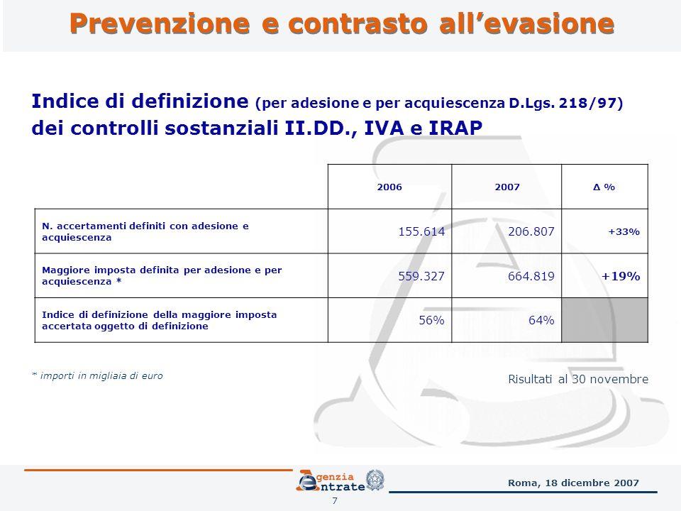 Prevenzione e contrasto allevasione 7 Indice di definizione (per adesione e per acquiescenza D.Lgs.