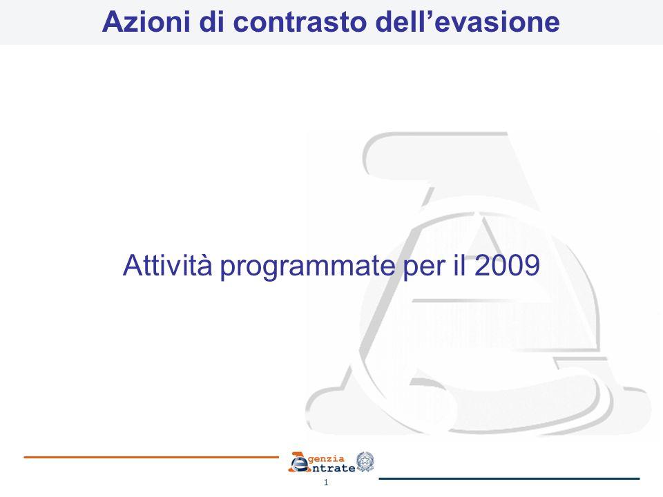 1 Azioni di contrasto dellevasione Attività programmate per il 2009