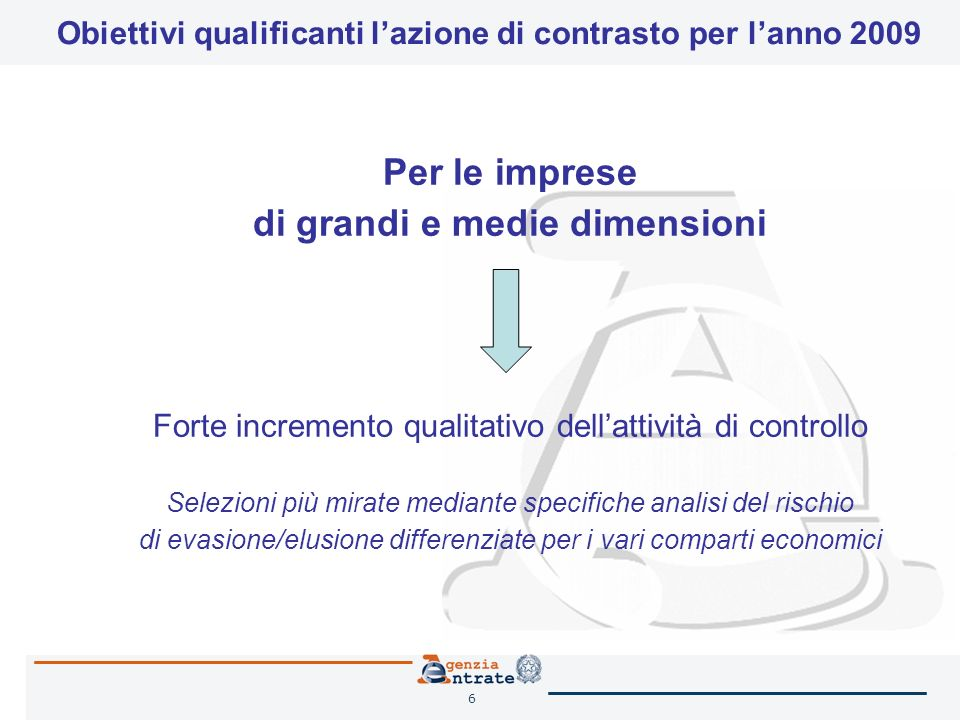 6 Per le imprese di grandi e medie dimensioni Forte incremento qualitativo dellattività di controllo Selezioni più mirate mediante specifiche analisi