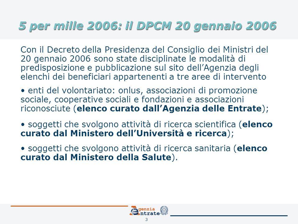 3 5 per mille 2006: il DPCM 20 gennaio 2006 Con il Decreto della Presidenza del Consiglio dei Ministri del 20 gennaio 2006 sono state disciplinate le