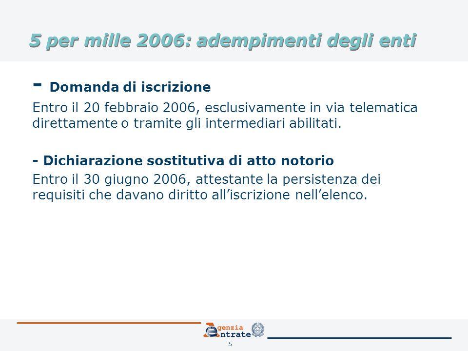 5 5 per mille 2006: adempimenti degli enti - Domanda di iscrizione Entro il 20 febbraio 2006, esclusivamente in via telematica direttamente o tramite gli intermediari abilitati.