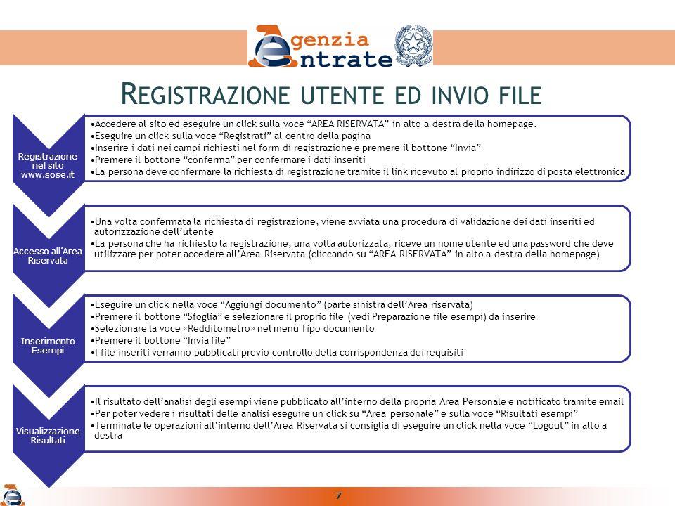7 Registrazione nel sito www.sose.it Accedere al sito ed eseguire un click sulla voce AREA RISERVATA in alto a destra della homepage.