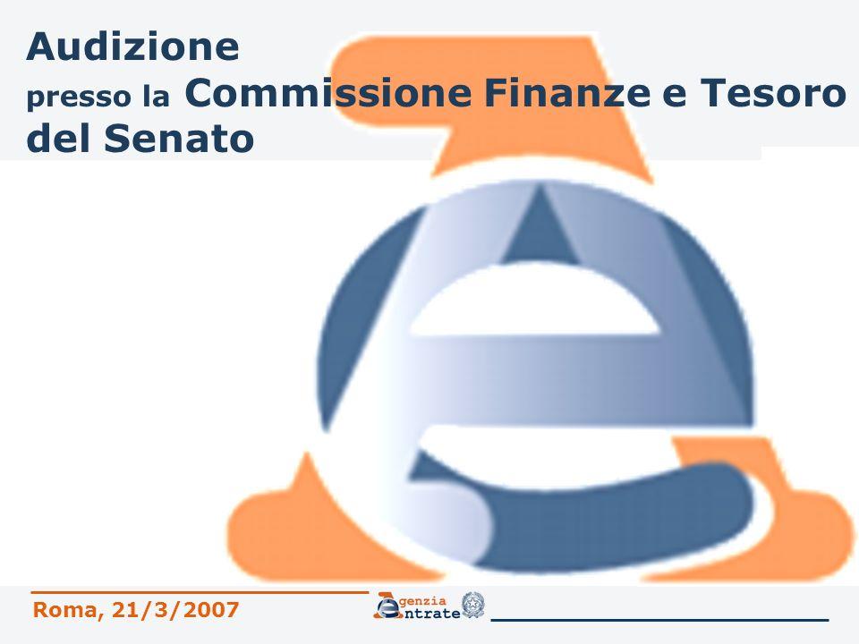 Audizione presso la Commissione Finanze e Tesoro del Senato Roma, 21/3/2007