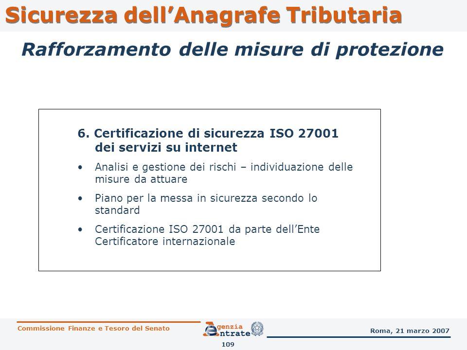 6. Certificazione di sicurezza ISO 27001 dei servizi su internet Analisi e gestione dei rischi – individuazione delle misure da attuare Piano per la m