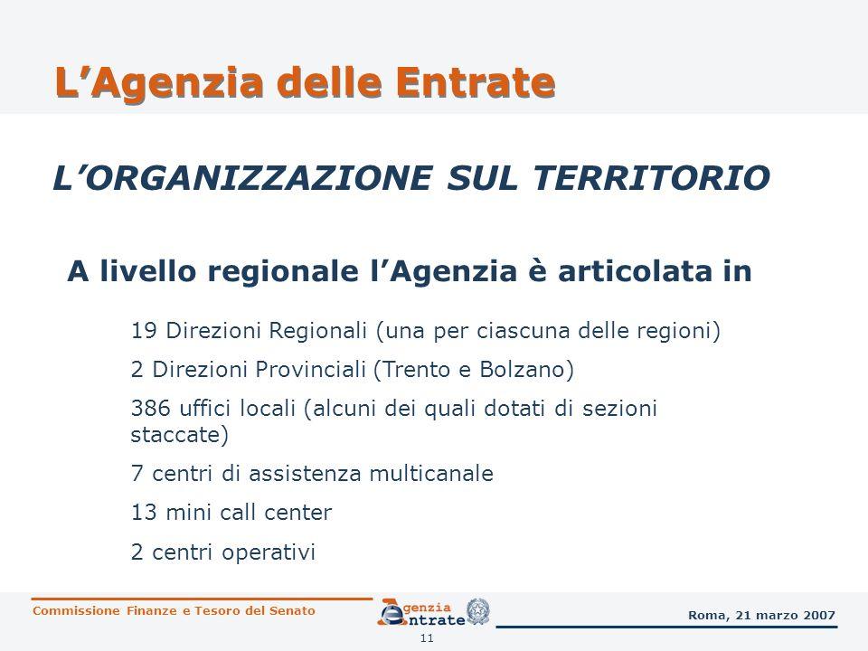 11 LAgenzia delle Entrate LORGANIZZAZIONE SUL TERRITORIO A livello regionale lAgenzia è articolata in 19 Direzioni Regionali (una per ciascuna delle r