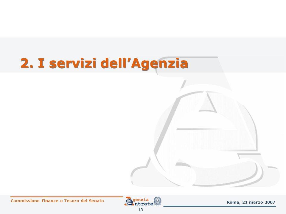 13 2. I servizi dellAgenzia Commissione Finanze e Tesoro del Senato Roma, 21 marzo 2007