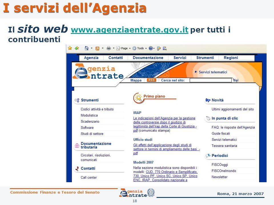 18 I servizi dellAgenzia Il sito web www.agenziaentrate.gov.it per tutti i contribuentiwww.agenziaentrate.gov.it Commissione Finanze e Tesoro del Sena