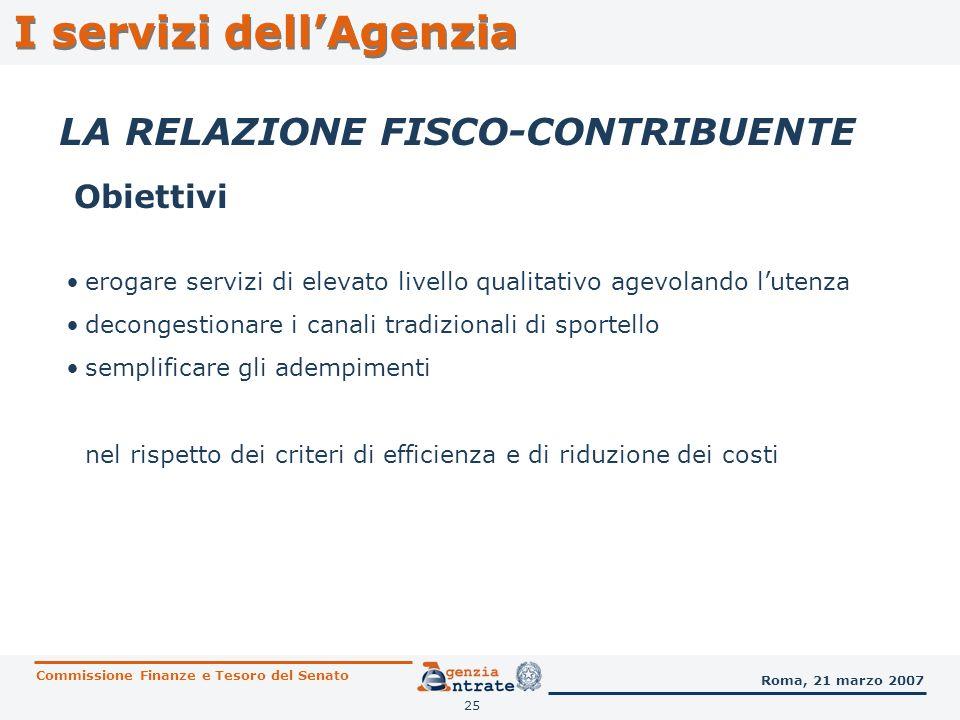 25 I servizi dellAgenzia LA RELAZIONE FISCO-CONTRIBUENTE Obiettivi Commissione Finanze e Tesoro del Senato Roma, 21 marzo 2007 erogare servizi di elev