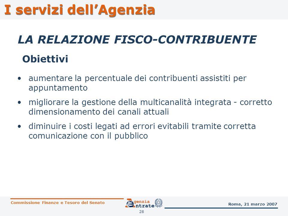 28 I servizi dellAgenzia LA RELAZIONE FISCO-CONTRIBUENTE Obiettivi Commissione Finanze e Tesoro del Senato Roma, 21 marzo 2007 aumentare la percentual