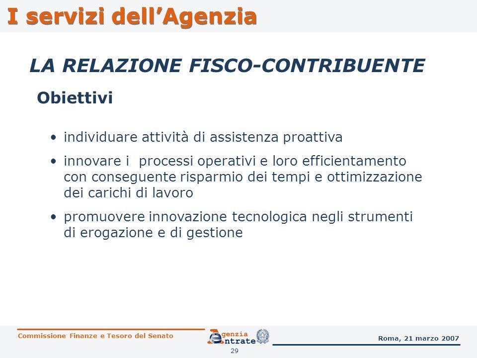 29 I servizi dellAgenzia LA RELAZIONE FISCO-CONTRIBUENTE Obiettivi Commissione Finanze e Tesoro del Senato Roma, 21 marzo 2007 individuare attività di