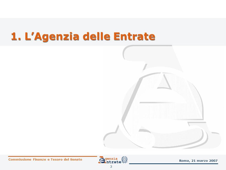 3 1. LAgenzia delle Entrate Commissione Finanze e Tesoro del Senato Roma, 21 marzo 2007