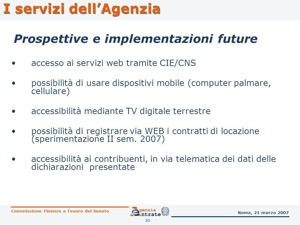 30 Prospettive e implementazioni future accesso ai servizi web tramite CIE/CNS possibilità di usare dispositivi mobile (computer palmare, cellulare) a