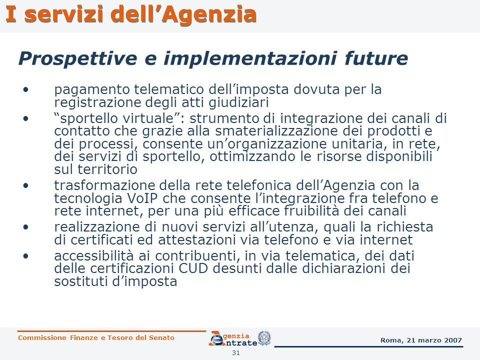 31 Prospettive e implementazioni future I servizi dellAgenzia Commissione Finanze e Tesoro del Senato Roma, 21 marzo 2007 pagamento telematico dellimp