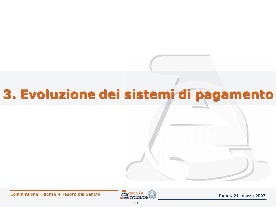 33 3. Evoluzione dei sistemi di pagamento Commissione Finanze e Tesoro del Senato Roma, 21 marzo 2007