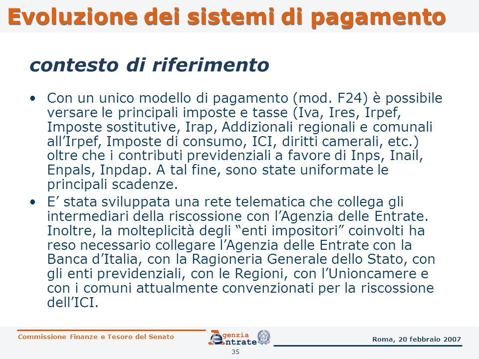 35 contesto di riferimento Con un unico modello di pagamento (mod. F24) è possibile versare le principali imposte e tasse (Iva, Ires, Irpef, Imposte s