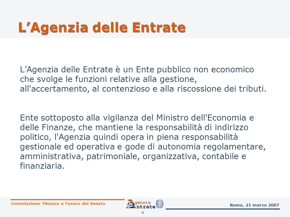 4 LAgenzia delle Entrate LAgenzia delle Entrate è un Ente pubblico non economico che svolge le funzioni relative alla gestione, all'accertamento, al c