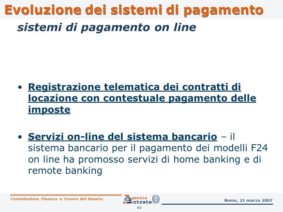 40 Registrazione telematica dei contratti di locazione con contestuale pagamento delle imposte Servizi on-line del sistema bancario – il sistema banca