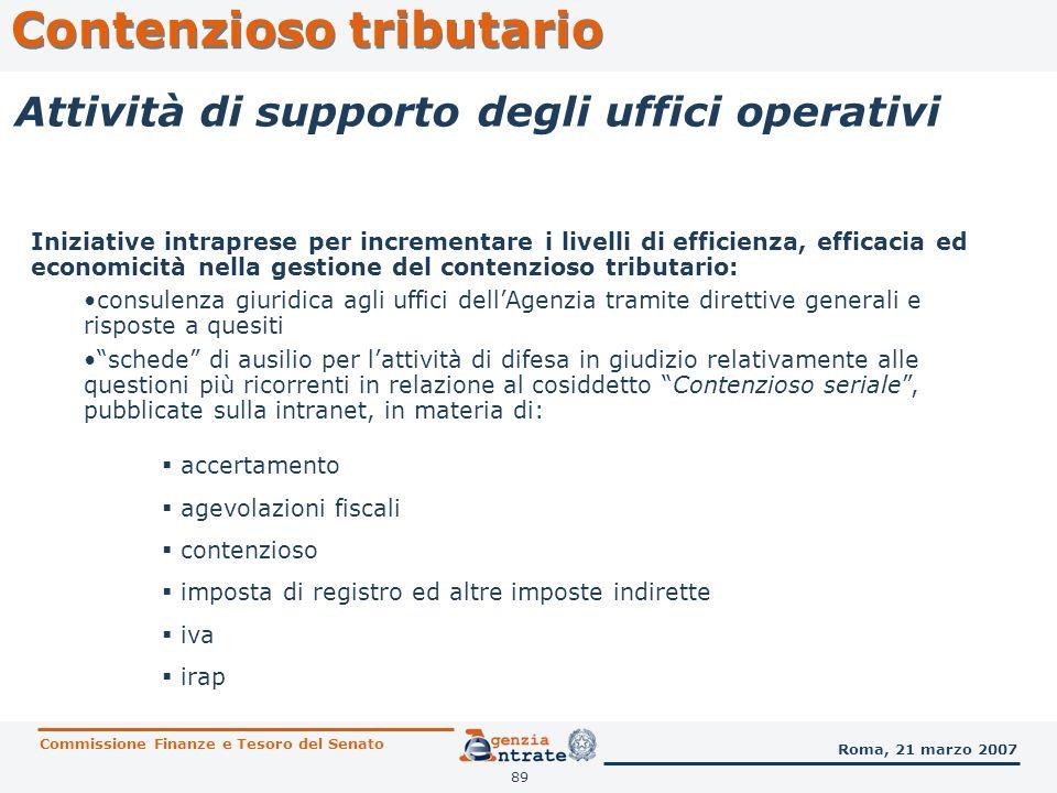 89 Contenzioso tributario Commissione Finanze e Tesoro del Senato Roma, 21 marzo 2007 Attività di supporto degli uffici operativi Iniziative intrapres