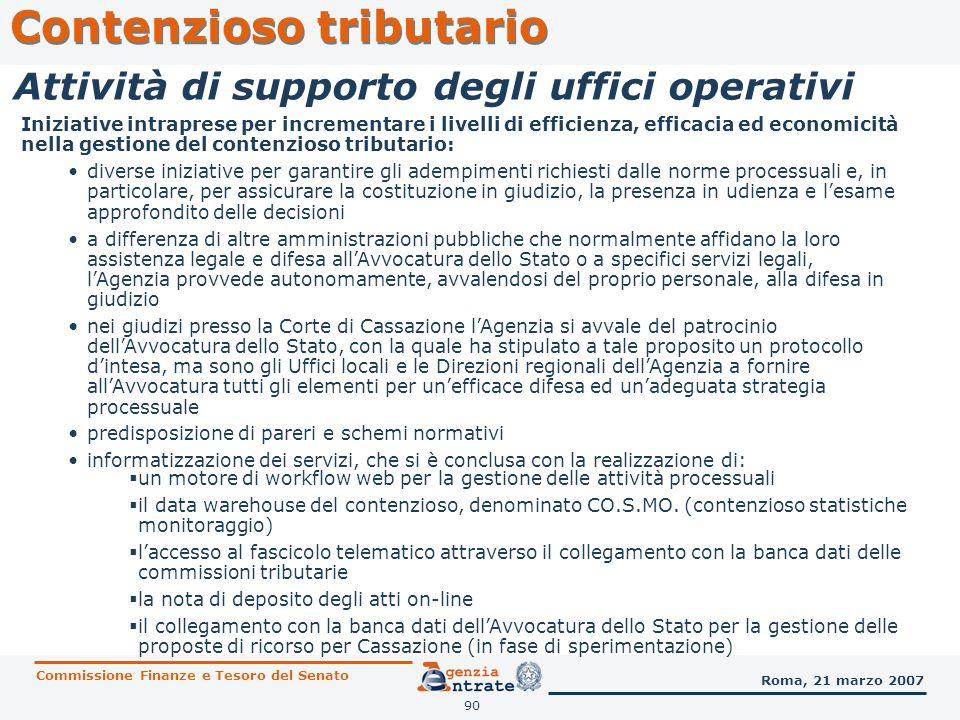 90 Contenzioso tributario Commissione Finanze e Tesoro del Senato Roma, 21 marzo 2007 Attività di supporto degli uffici operativi Iniziative intrapres