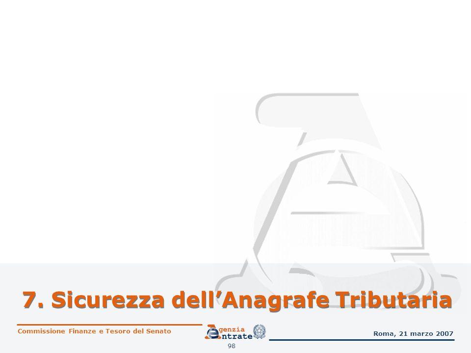 98 7. Sicurezza dellAnagrafe Tributaria Commissione Finanze e Tesoro del Senato Roma, 21 marzo 2007