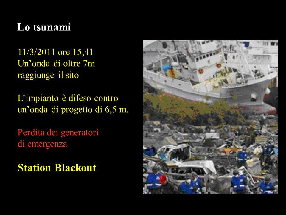 Lo tsunami 11/3/2011 ore 15,41 Unonda di oltre 7m raggiunge il sito Limpianto è difeso contro unonda di progetto di 6,5 m.