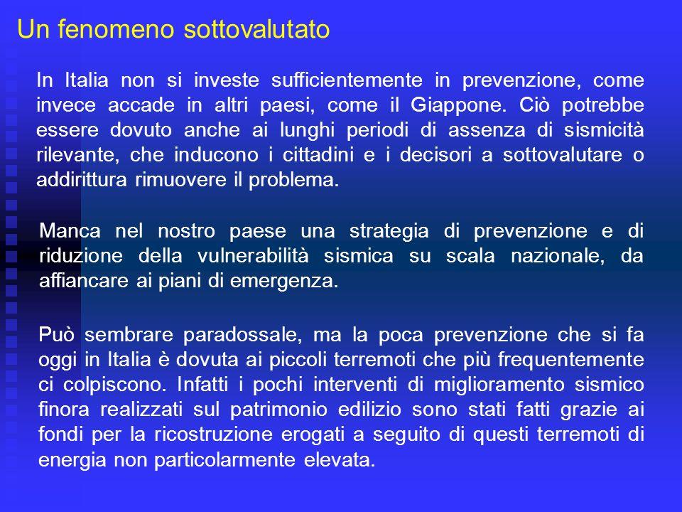 Un fenomeno sottovalutato In Italia non si investe sufficientemente in prevenzione, come invece accade in altri paesi, come il Giappone. Ciò potrebbe