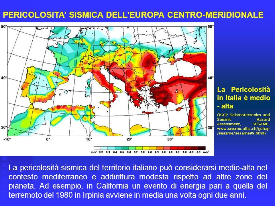 La Pericolosità in Italia è medio - alta (IGCP Seismotectonics and Seismic Hazard Assessment, SESAME, www.seismo.ethz.ch/gshap /sesame/sesame99.html)