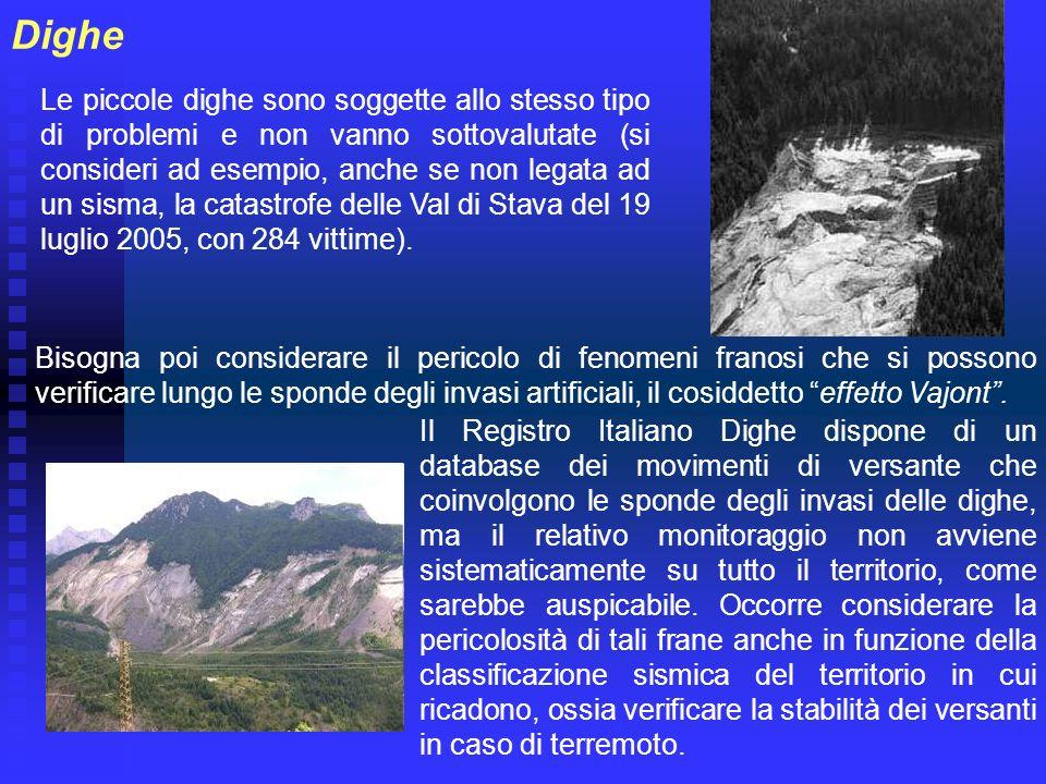 Dighe Le piccole dighe sono soggette allo stesso tipo di problemi e non vanno sottovalutate (si consideri ad esempio, anche se non legata ad un sisma,
