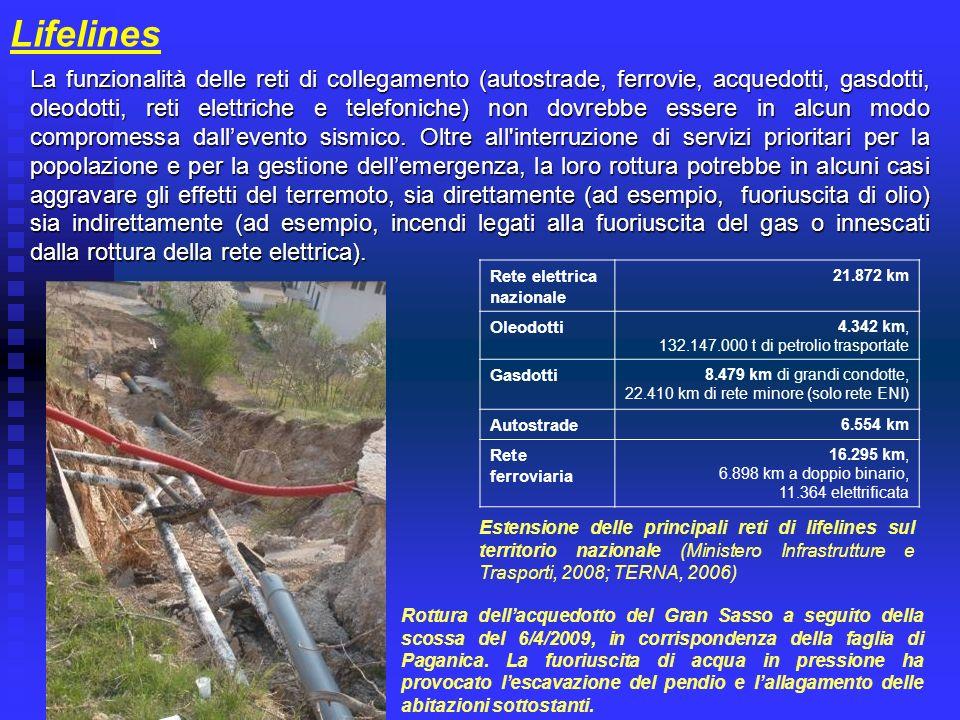 Lifelines La funzionalità delle reti di collegamento (autostrade, ferrovie, acquedotti, gasdotti, oleodotti, reti elettriche e telefoniche) non dovreb