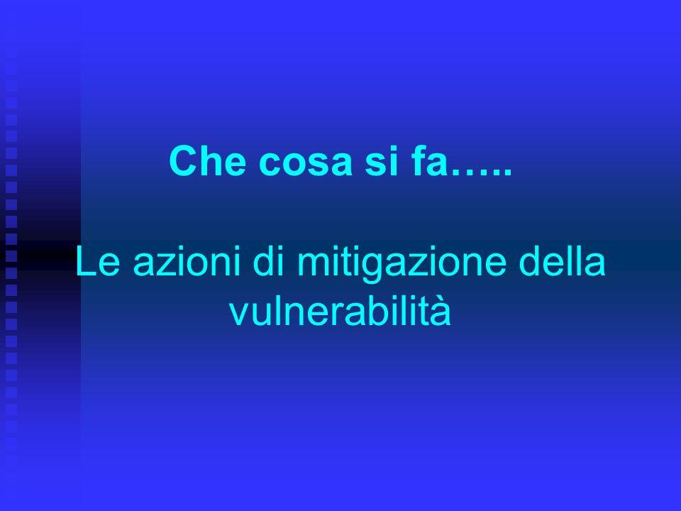 Che cosa si fa….. Le azioni di mitigazione della vulnerabilità