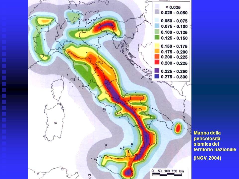 Mappa della pericolosità sismica del territorio nazionale (INGV, 2004)