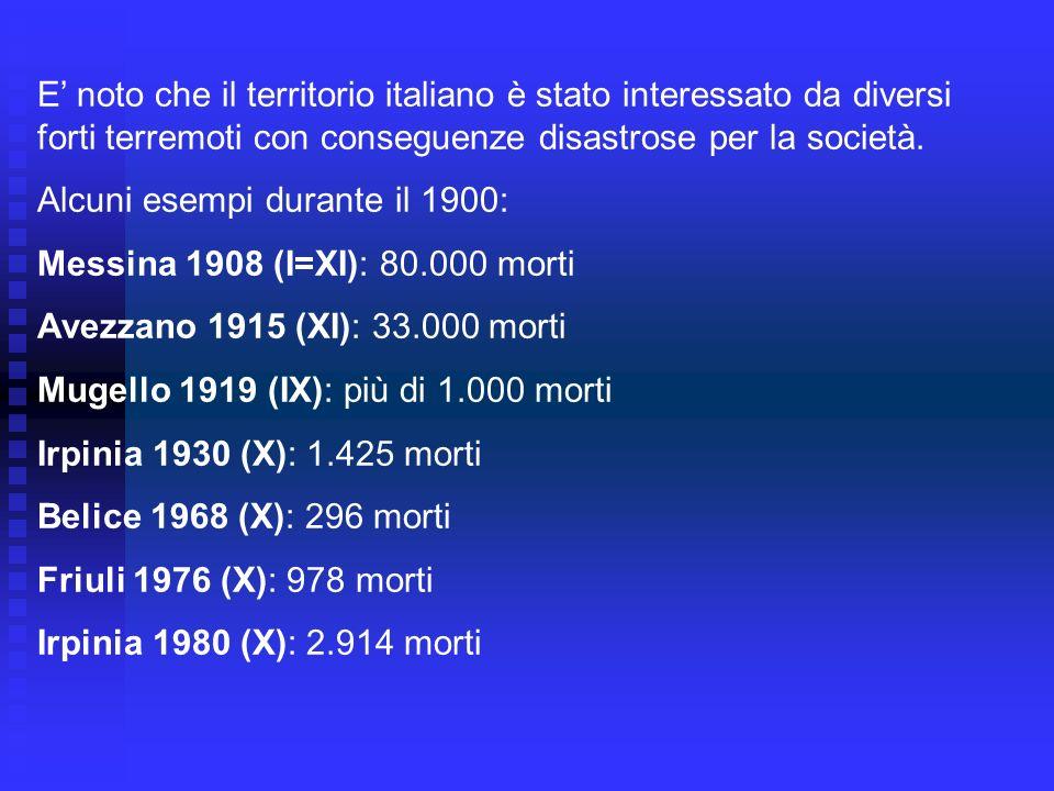 SERIE DI 6 FORTI TERREMOTI IN 6 ANNI (DAL 1915 AL 1920) Avezzano (AQ), 13/1/1915, XI MCS Monterchi (AR), 26/4/1917, IX – X MCS Santa Sofia (FO), 10/11/1918, VIII MCS Mugello (FI), 29/6/1919, IX MCS Piancastagnaio (SI), 10/9/1919, VIII MCS Garfagnana (LU), 7/9/1920, X MCS Meno noto è che si sono verificati periodi con una serie di forti terremoti (Intensità VIII – XI MCS) concentrati in pochi anni.