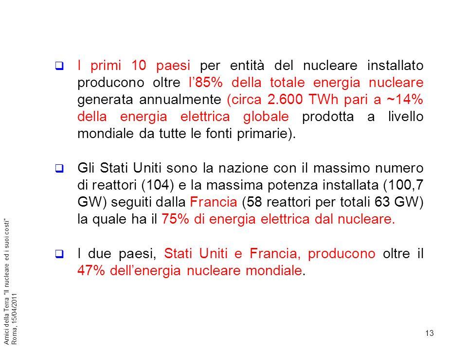 13 Amici della Terra Il nucleare ed i suoi costi Roma, 15/04/2011 I primi 10 paesi per entità del nucleare installato producono oltre l85% della total