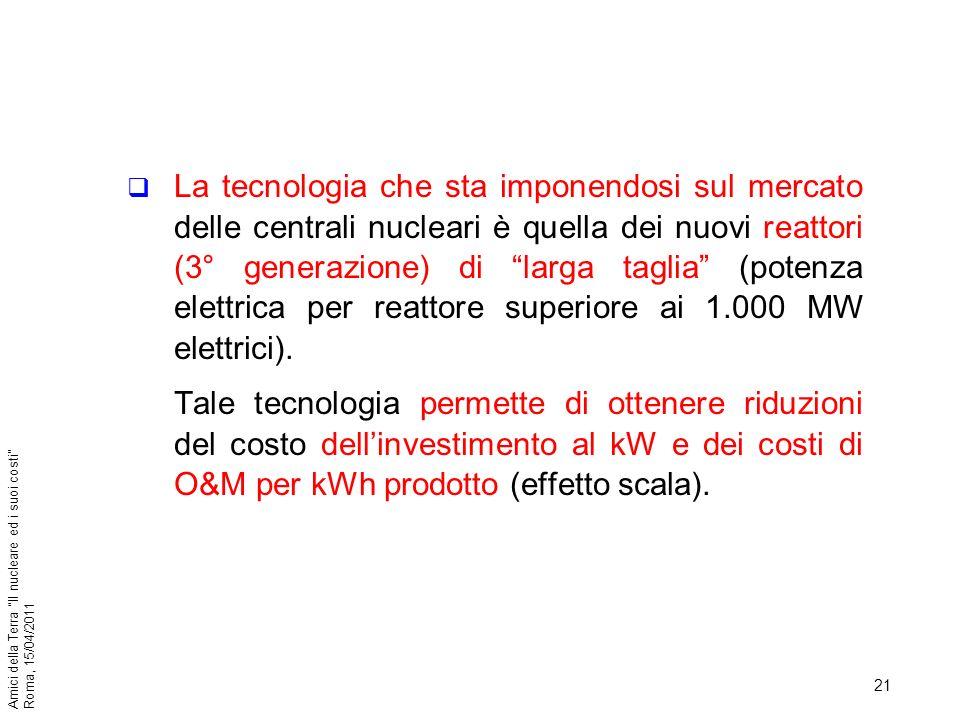 21 Amici della Terra Il nucleare ed i suoi costi Roma, 15/04/2011 La tecnologia che sta imponendosi sul mercato delle centrali nucleari è quella dei n