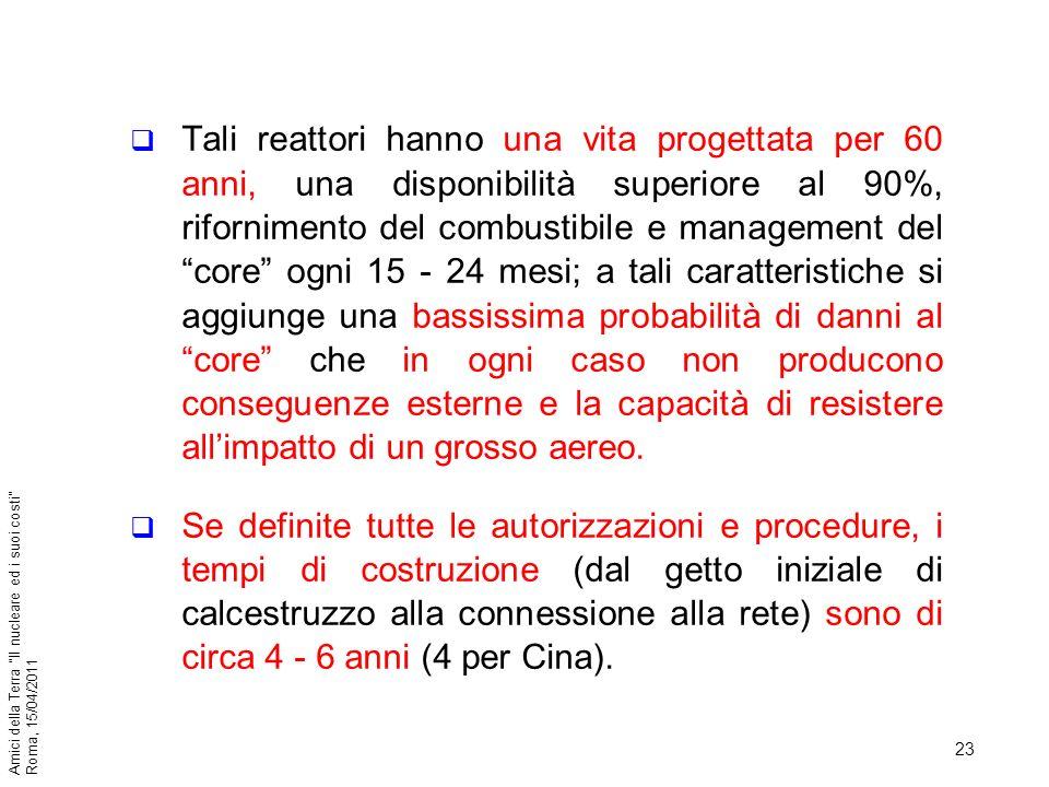 23 Amici della Terra Il nucleare ed i suoi costi Roma, 15/04/2011 Tali reattori hanno una vita progettata per 60 anni, una disponibilità superiore al