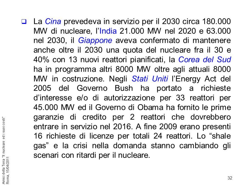 32 Amici della Terra Il nucleare ed i suoi costi Roma, 15/04/2011 La Cina prevedeva in servizio per il 2030 circa 180.000 MW di nucleare, lIndia 21.00
