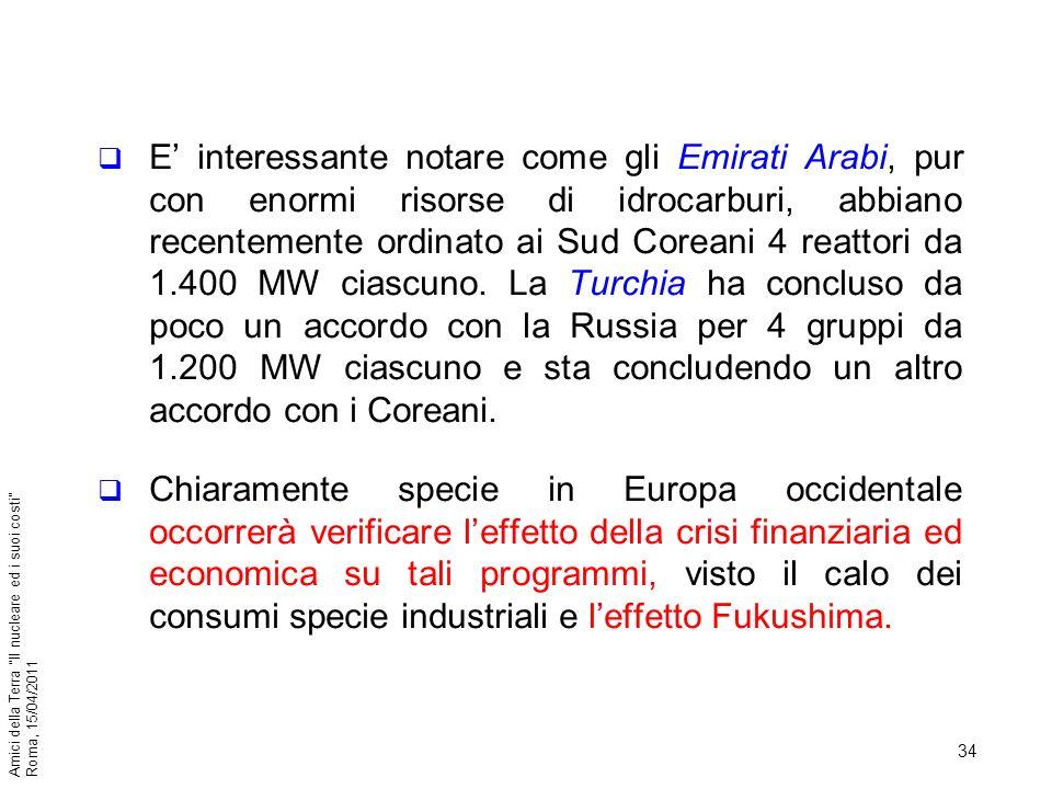 34 Amici della Terra Il nucleare ed i suoi costi Roma, 15/04/2011 E interessante notare come gli Emirati Arabi, pur con enormi risorse di idrocarburi,