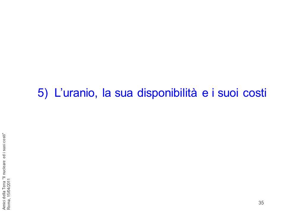 35 Amici della Terra Il nucleare ed i suoi costi Roma, 15/04/2011 5)Luranio, la sua disponibilità e i suoi costi