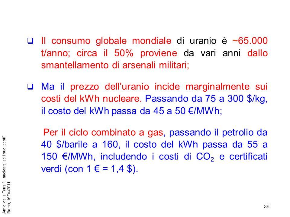 36 Amici della Terra Il nucleare ed i suoi costi Roma, 15/04/2011 Il consumo globale mondiale di uranio è ~65.000 t/anno; circa il 50% proviene da var
