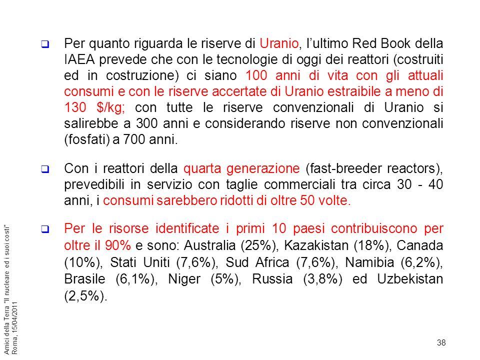 38 Amici della Terra Il nucleare ed i suoi costi Roma, 15/04/2011 Per quanto riguarda le riserve di Uranio, lultimo Red Book della IAEA prevede che co
