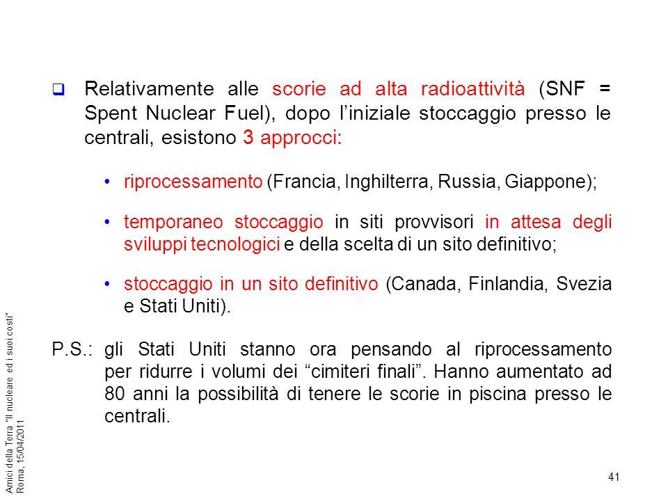 41 Amici della Terra Il nucleare ed i suoi costi Roma, 15/04/2011 Relativamente alle scorie ad alta radioattività (SNF = Spent Nuclear Fuel), dopo lin