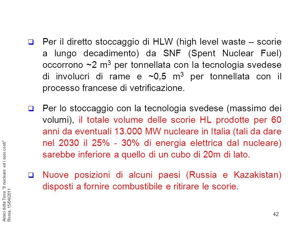 42 Amici della Terra Il nucleare ed i suoi costi Roma, 15/04/2011 Per il diretto stoccaggio di HLW (high level waste – scorie a lungo decadimento) da