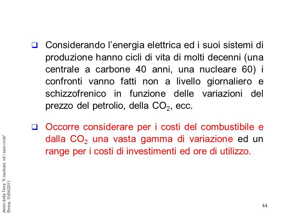 44 Amici della Terra Il nucleare ed i suoi costi Roma, 15/04/2011 Considerando lenergia elettrica ed i suoi sistemi di produzione hanno cicli di vita