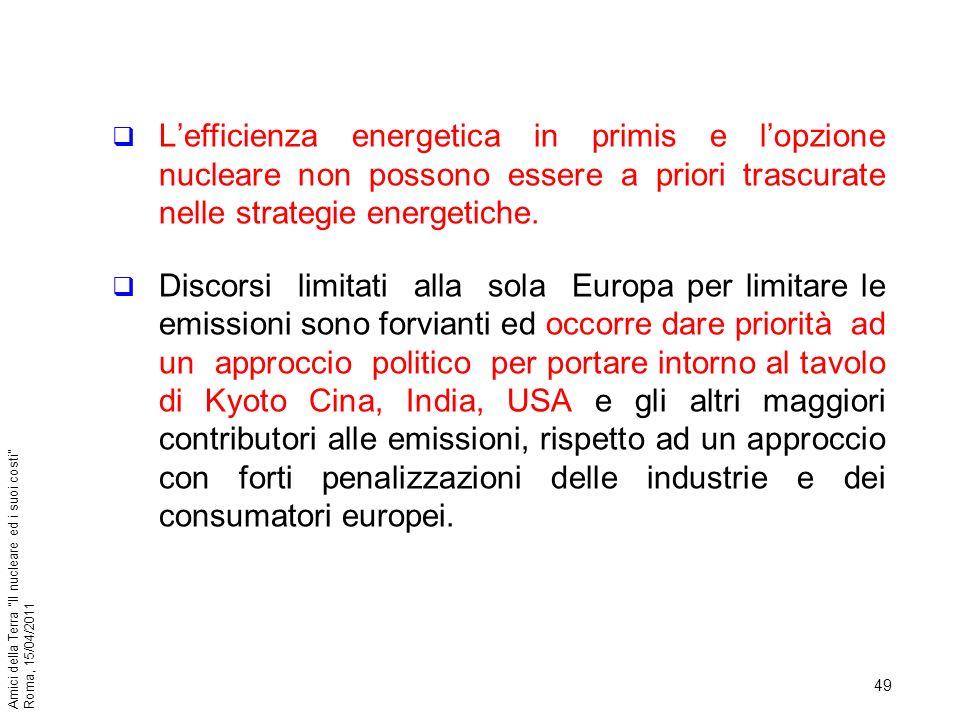 49 Amici della Terra Il nucleare ed i suoi costi Roma, 15/04/2011 Lefficienza energetica in primis e lopzione nucleare non possono essere a priori tra